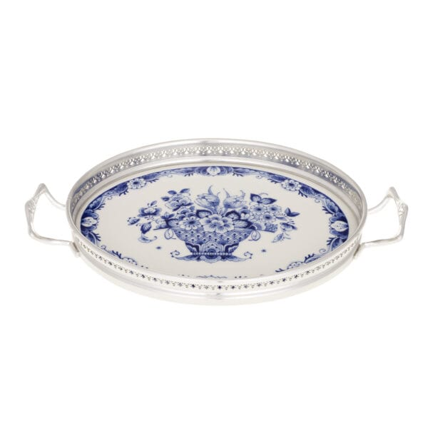Tray oval flower with tin border